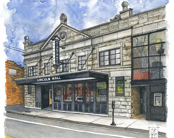 Lincoln Hall Theater in Chicago_watercolor