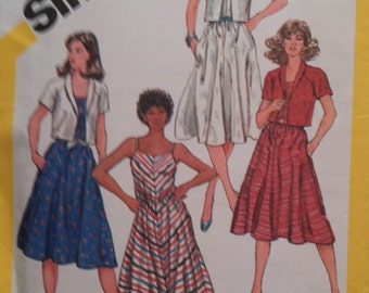 Simplicity 5845 Sundress and Jacket Vintage 1982 Sewing Pattern Size 18