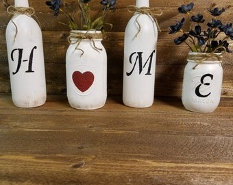 H-O-M-E,  Rustic Decor,Family Room Decor, Distressed, Wine Bottles and Mason Jars, Country Decor