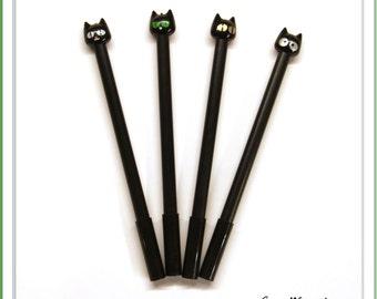 Black Cat Pen, Kitty Pen, Kitten Pen, Kawaii Pen, Cute Pen, Gel Pen, Planner Accessories, Kawaii Korean Stationery, School Supplies, ST15