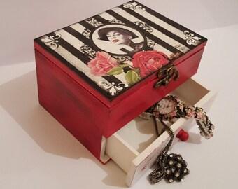 Wooden Box ,Treasury Box,Memory box Keepsake box Jewelry Storage, Jewelry box,Hand made,Decopage,Decopauge,Gift for her,Red art box