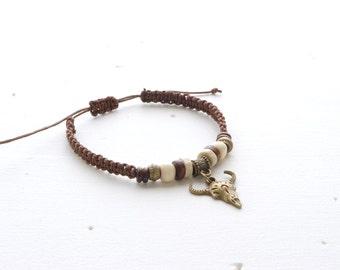 BROWN Knotted Bracelet Animal Skull Charm Bracelet Men's Bracelet Mens Jewelry