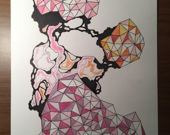 "Original Geometric Drawing-- ""Sherbet"""