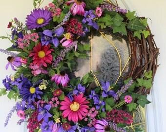 Spring Wreath, Summer Wreath, Front Door Wreath, Grapevine Wreath, Purple Floral Wreath, Daisy Wreath
