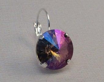 PURPLE HAZE Swarovski Crystal 14mm Rivoli Drop Earrings, Grand Opening sale- take 25% off with coupon code!