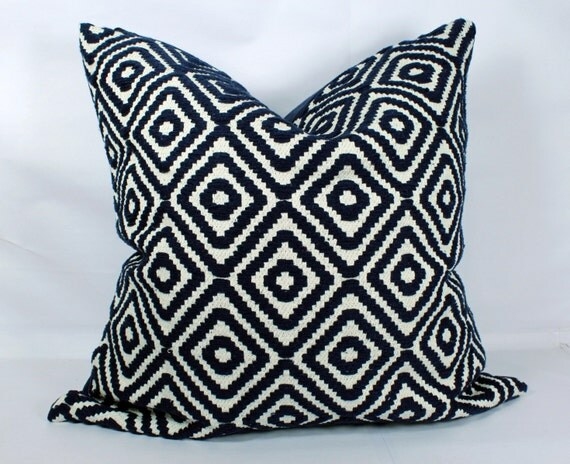 Dark Blue Throw Pillow : Dark blue throw pillow case 20x20 decorative boho pillow cases