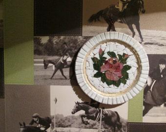 Flowers mosaic decorative wall plate.
