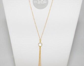 CRTSTAL LARIAT NECKLACE, Y Necklace, 14k Gold Filled