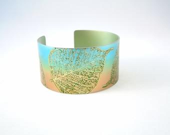 Leaf Cuff bracelet in anodised aluminium