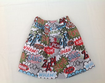 Sale, Girls Skirt, handmade, Comic print, age 4-5 years, ready to dispatch one only