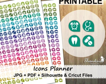 50% OFF SALE, Icons Planner Printable Planner Stickers, Erin Condren Planner Stickers, Icons Planner Printable Stickers, Icons - Cut Files