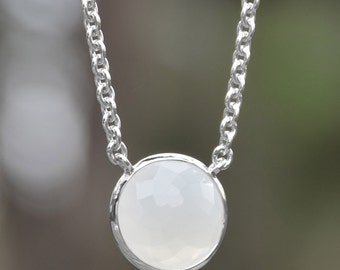 Hope Moonstone Necklace | Faceted Moonstone Necklace | Round Moonstone Necklace | Silver Necklace | Silver Chain Necklace | Gemstone Jewelry