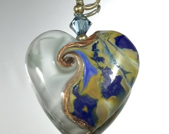Lampwork-Focal-Heart-Grey with Mosaic Shard of Tans/Blues accented in Goldstone  Blue Swarovski crystal and sterling silver findings.
