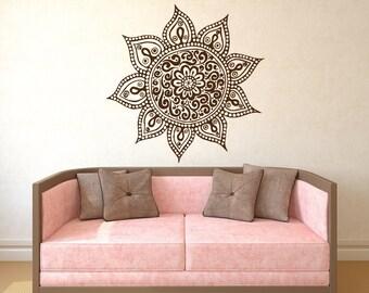 Wall Decal Mandala  Vinyl Sticker Decals Lotus Flower Home Decor Boho Bohemian Bedroom Ornament Moroccan Pattern Namaste Yoga Studio x187