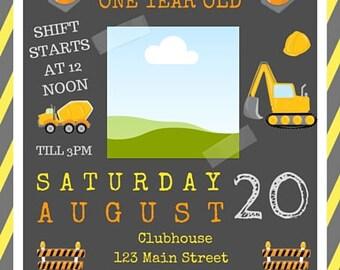 Construction Birthday Party Invite - Customization FREE!