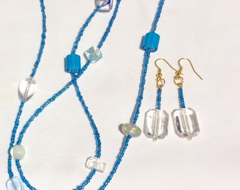 Acrylic necklace and pierced earrings set