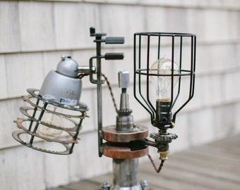 Steampunk lamp, auto/motorcycle design- Vintage