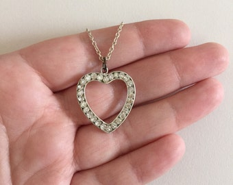 Vintage Crystal and Sterling Silver Heart Shaped Pendant Necklace