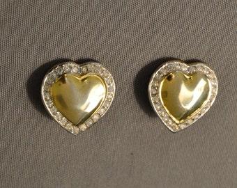 925 Silver Heart Earrings shiny golden years ' 80, framed by clear crystal rhinestones.