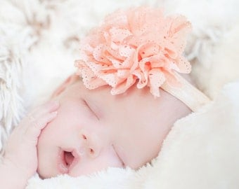 Peach baby headband, baby girl headband, infant headbands, baby hair bows, flower headband, baby bows, newborn headband bow, baby headbands
