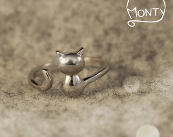 Kitty - Sterling Silver Ring (Rhodium Plated)