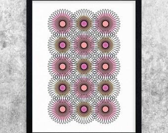 Geometric Art, Pink, Orange, Modern Art Print, Minimal Decor, Abstract Printable Art, Digital Print, Instant Download, Home Decor, Wall Art