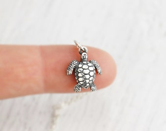 Sterling turtle etsy turtle necklace sea turtle necklace sterling silver sea turtle charm beach jewelry aloadofball Image collections