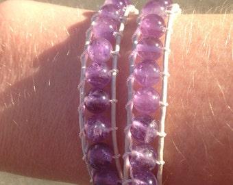 Light Amethyst double wrap bracelet