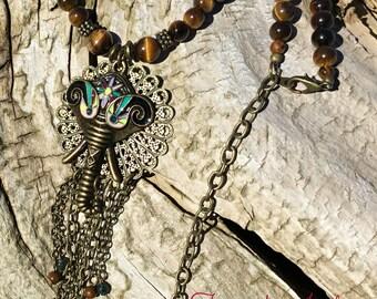 Ganesha Mala Prayer Necklace 108 + Tiger's Eye Beads