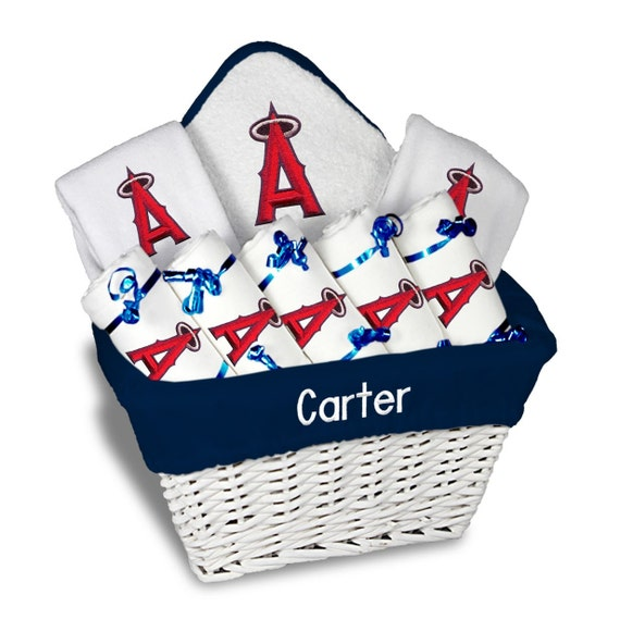 Baby Gift Los Angeles : Personalized los angeles angels baby gift basket bibs
