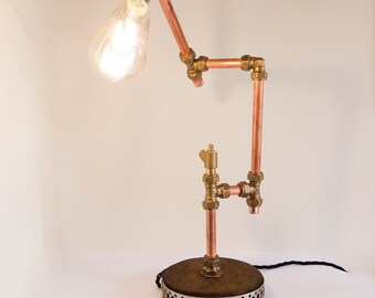 Table Lamp, Table Light, Desk Lamp, Industrial Design, Copper Light, Copper Lighting, Unusual Lighting, Unusual Lamp, Edison Bulb, Gift