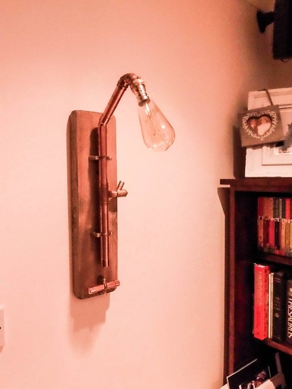 Etsy Wall Lamps : Items similar to Copper Wall Light, Wall Lamp, Filament Light, Interior Lighting, Steampunk ...