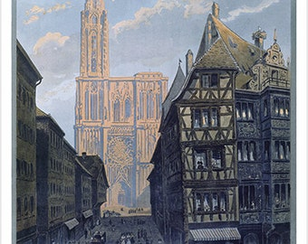 Strasbourg Vintage Tourism Poster City Streets Cathedral Collectible 24x36