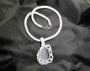 Blue Agate Kumihimo Necklace