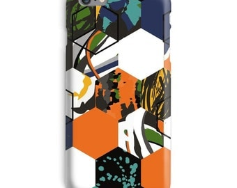 Orange iPhone Case, Blue iphone case, Abstract iphone 6 case, Mosaic iphone 6 case, Cool iphone 6s case, Navy iphone case