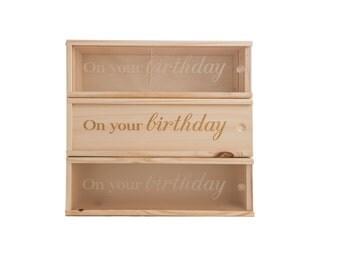 Wooden Wine Box (single) - On your birthday