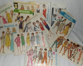 Lot of 11 vintage sewing patterns Simplicity McCalls 1960's and 1970's