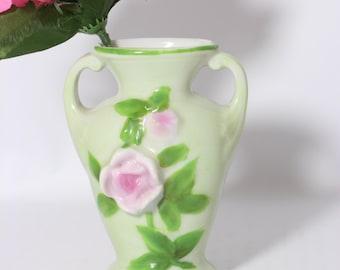 Mini Bone China Urn Vase / Vintage Green Planter Japan
