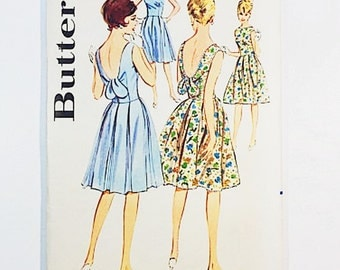 60s Dress Pattern Butterick 3134 Misses Party Dress Pattern | 60s Sewing Pattern
