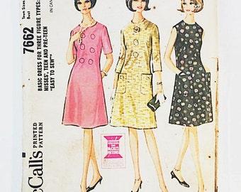 60s Teen Dress Pattern | McCalls 7662 Basic Dress Pattern | 60s Sewing Pattern