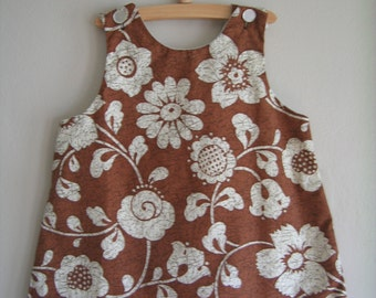 Vintage Brown Floral Dress and Bloomers Set by Holiday Sportswear of Miami, Size 4T  -- Vintage Kids Clothes -- Vintage Dress for Girls