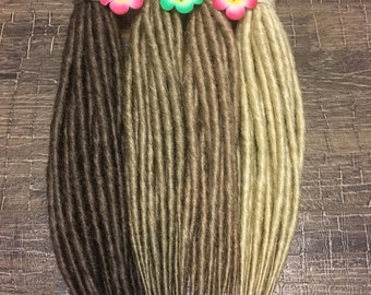 """Buy DREADS light blonde or cold, warm & light brown x10 or FULL SET  Double or Single Ended Synthetic Dreadlocks Fall Hair Extensions 20"""""""