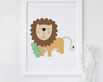 Lion wall art, Lion nursery print, Safari animal print, Safari nursery, animal print, Nursery animal print, printable wall art, lion art