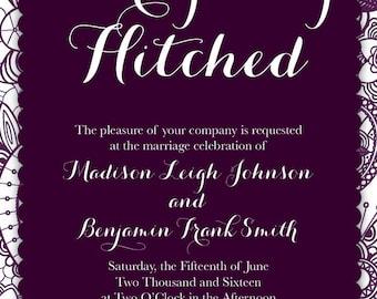 Wedding Invitation Set - Deep Purple & Lace