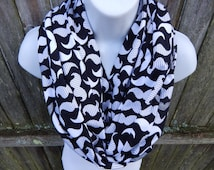 Black and white moustash, jersy knit infinity scarf