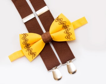 Toddler Birthday Gift, Yellow Bow Tie & Brown Suspenders, Outfit For Birthday