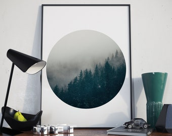 Forest circle photo, forest print, forest photography, forest quote, forest fog, nature wall art, inspirational, photo print, wilderness