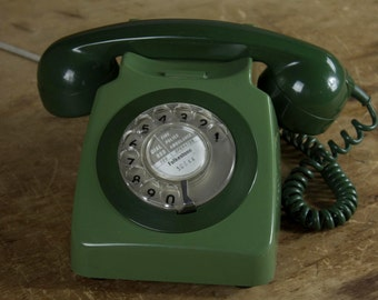 1970s Classic Rotary Dial Telephone - two tone olive green