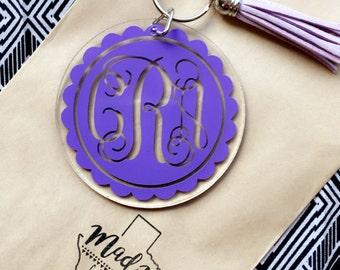 """3"""" Vine Flower Monogram Keychain With Tassel"""
