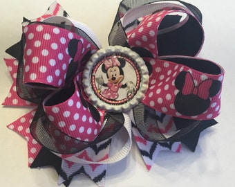 Pink Minnie Mouse stacked boutique bow